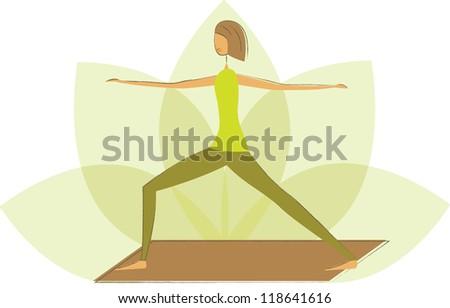 Stylized yoga warrior pose on the flower of lotus.