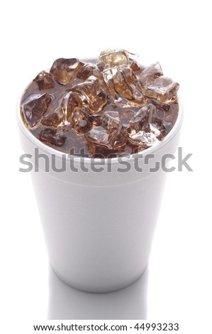 Styrofoam Cup with Ice and Cola isolated on white with reflection vertical format