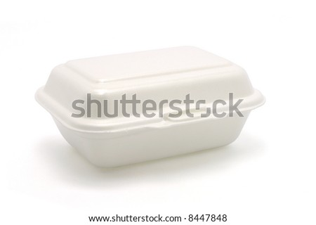 Styrofoam meal box isolated on white ground