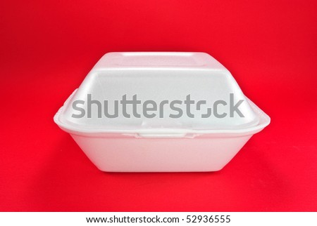 Styrofoam Take Out Food box isolated on a red background