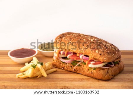Sub Burger with fries
