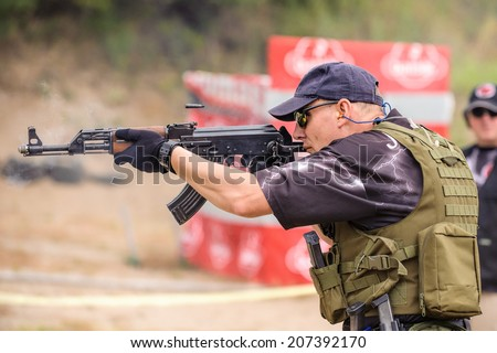 Sub machine Gun. Shooting and Weapons Training. Outdoor Shooting Range