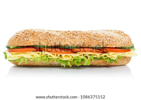 Sub sandwich whole grain grains baguette with cheese lateral isolated on a white background #1086375152