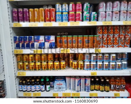 subang jaya, malaysia - august 18, 2018 : variety of carbonated drinking water in supermarket shelf #1160830690