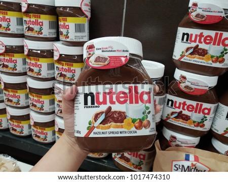 subang jaya malaysia 3rd february 2018 hand hold a nutella