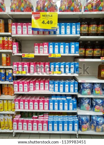 subang jaya, selangor, malaysia - july 22, 2018 : view of NESTLE just milk in supermarket shelf #1139983451