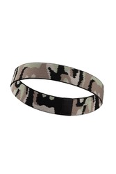 Subject shot of a black and gray camouflage painted headband. The camo hairband is isolated on the white background.