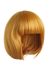 Subject shot of a golden yellow wig with bangs. The short blunt bob wig is isolated on the white background.