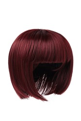 Subject shot of a natural look bricky-coloured wig with bangs. The short blunt bob wig is isolated on the white background.