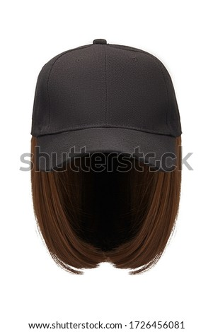 Subject shot of a natural looking brown wig attached to a black baseball cap. The cap with the short wig is isolated on the white background.  ストックフォト ©