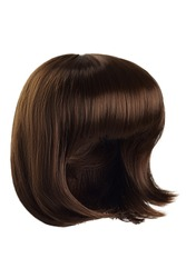Subject shot of a natural looking brown wig with bangs. The short blunt bob wig is isolated on the white background.