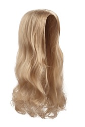 Subject shot of a natural looking caramel blonde wig without bangs. The long wig with wavy strands is isolated on the white background.