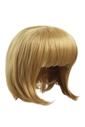 Subject shot of a natural looking light blonde wig with bangs. The short blunt bob wig is isolated on the white background.