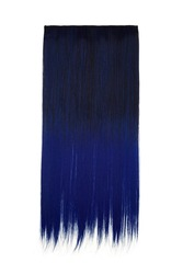 Subject shot of black and blue tresses for hair extension. Natural looking strands are isolated on the white background.