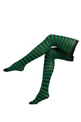 Subject shot of black and green striped stockings made of semi-opaque elastic cloth. The showy garment is isolated on the white background.