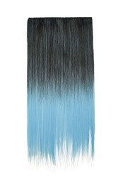 Subject shot of black and pale blue tresses for hair extension. Natural looking strands are isolated on the white background.