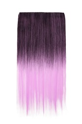Subject shot of black and pink tresses for hair extension. Natural looking strands are isolated on the white background.