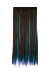 Subject shot of brown and blue tresses for hair extension. Natural looking strands are isolated on the white background.