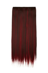 Subject shot of brown and red tresses for hair extension. Natural looking strands are isolated on the white background.