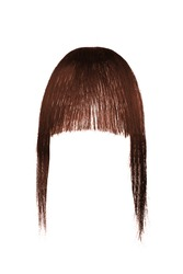 Subject shot of brown bangs with black side strands. Natural looking tresses for hair extension are isolated on the white background.