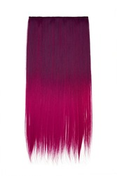 Subject shot of purple and deep pink tresses for hair extension. Natural looking strands are isolated on the white background.