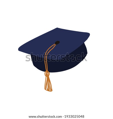 Subjects for the graduate 2021. Confederate and diploma. Graduation illustration. Simple minimalistic picture. Сток-фото ©