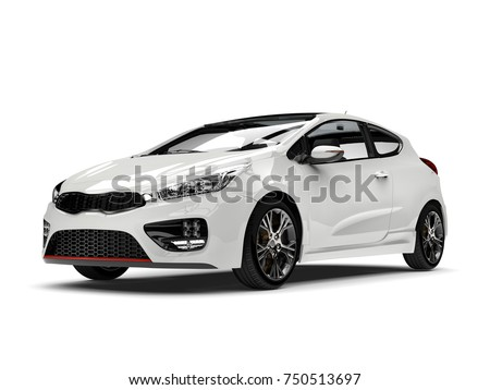 Sublime white modern electric car - 3D Illustration