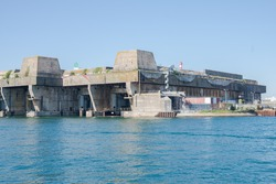 Submarine base in Lorient harbor, Morbihan in Brittany