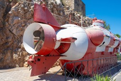 Submarine in the bay of Balaclava. Monument and attraction, exhibit.