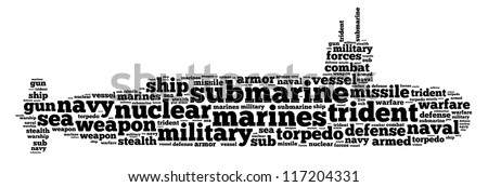 Submarine info-text graphics and arrangement word clouds concept