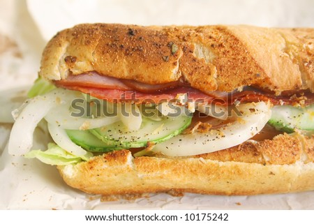 Submarine Sandwich Toasted Hearty Italian Style, simply delicious
