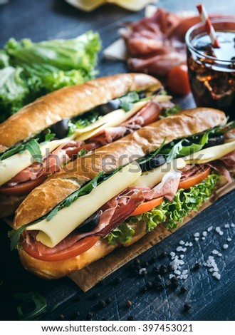 Submarine sandwiches served on the table,selective focus