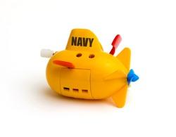 Submarine toy on white background