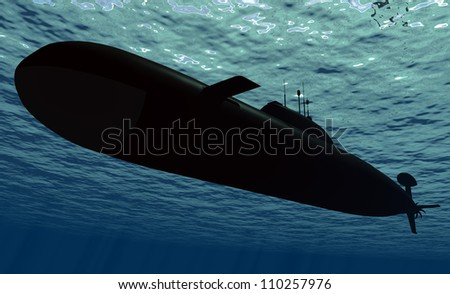 Submarine  under water.