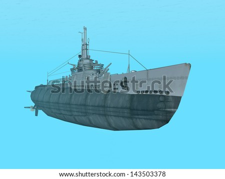 Submarine USS Trigger Computer generated 3D illustration