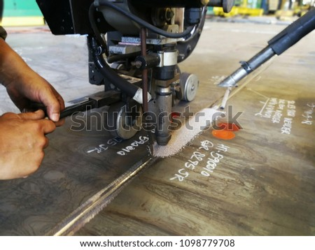 Submerged arc welding process for steel plate #1098779708