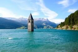 Submerged Bell tower in Curon Venosta,  Bolzano, Trentino Alto Adige / South Tyrol, Italy