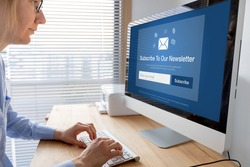 Subscribe to newsletter form to join subscriber list and get special offers. Email marketing sign-up page for e-mail membership. Enroll customer with the brand. Digital communication and advertising