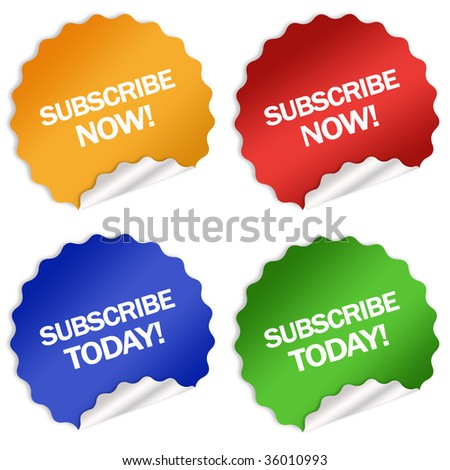 Subscription stickers - stock photo