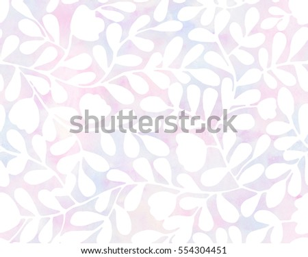 Subtle hand drawn seamless pattern (tiling) with watercolor leaves, flowers, and branches.