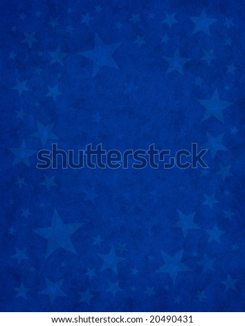 Subtle star shapes on a textured blue background.