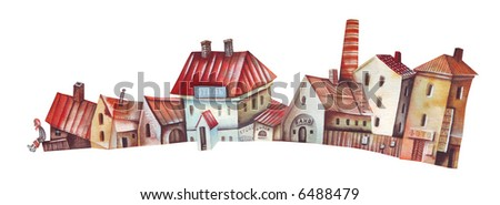 Suburb neighborhood. Illustration by Eugene Ivanov.