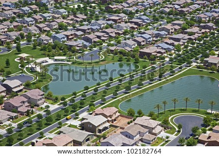 Suburb with man made lakes in east Mesa, Arizona