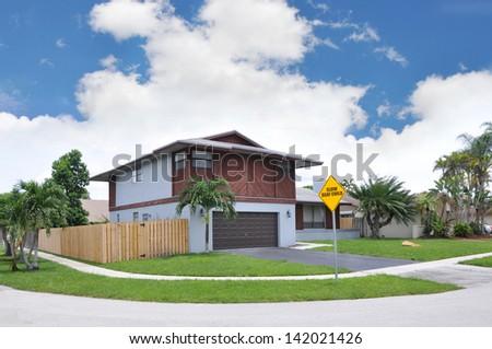 Suburban Corner House Caution Deaf Child Traffic Sign Royal Palm