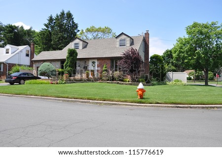 Suburban Home Landscaped curbside Fire Hydrant Corner Lot in residential neighborhood sunny blue sky day