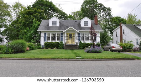 Suburban Home Landscaped Front Yard Lawn