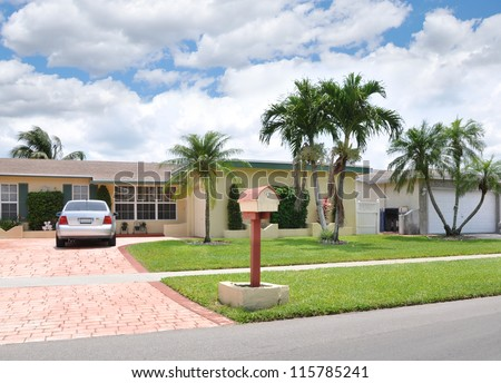 Suburban Home Mailbox Parked Car Palm Tree