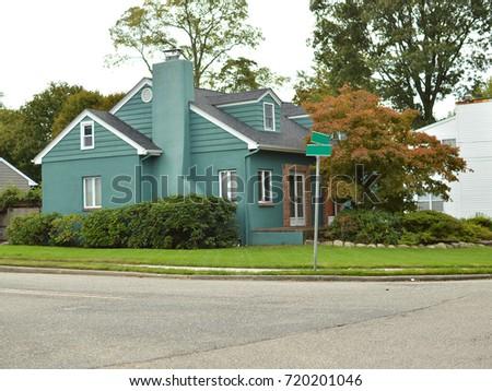 Suburban Home street corner USA #720201046