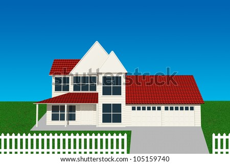 Suburban house illustration with green grass and a clear blue sky - stock photo