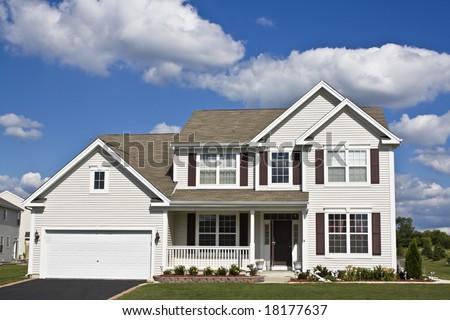 Suburban house seen during summer